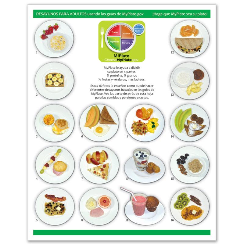 MyPlate Photo Food Pads - Adult Breakfast - Spanish