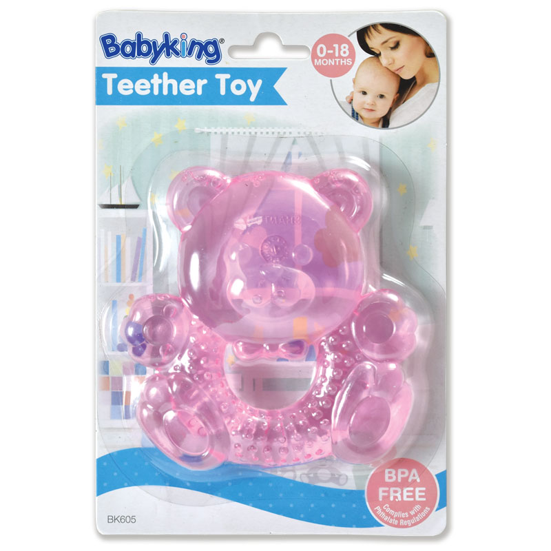 Water Filled Teether Rattles - Pink Bear